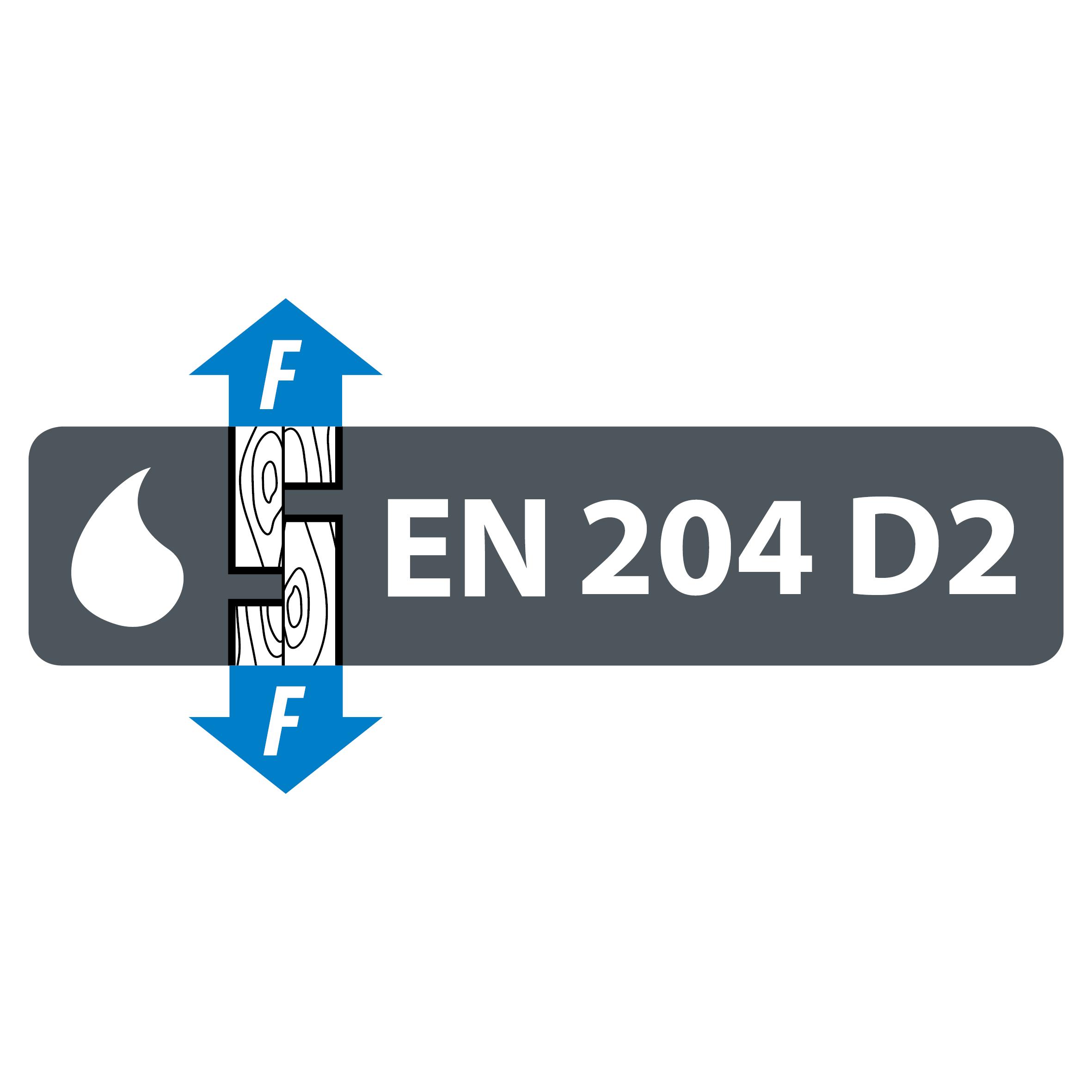 EN 204 D2 vattenbeständighets klassificering