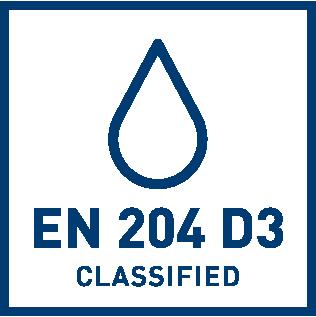 EN 204 D3 vattenbeständighets klassificering