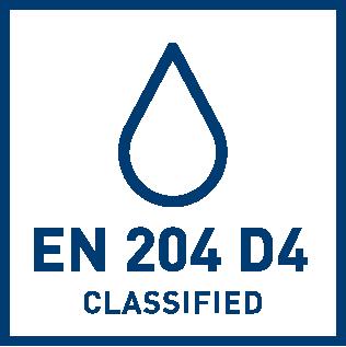 EN 204 D4 vattenbeständighets klassificering